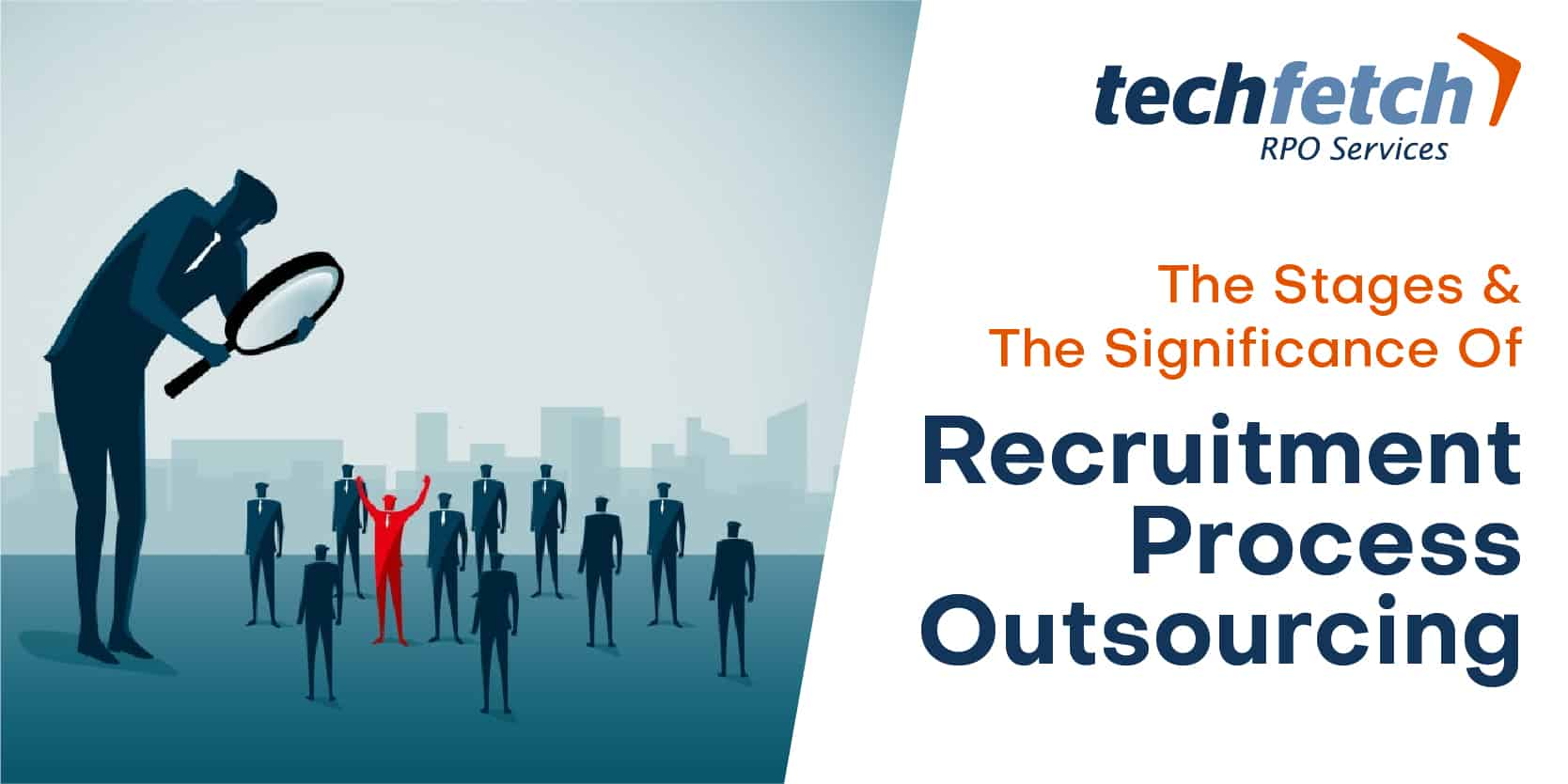 Graphical representation of recruiter searching for the right fit using a looking glass, the right candidate highlighted in red amongst group of candidates in grey blue